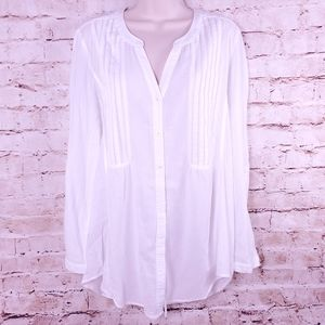 Anthropologie Maeve White Pleated Shirt Sz 12